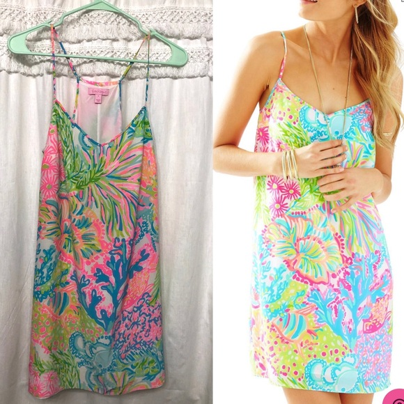 Lilly Pulitzer Dresses & Skirts - SOLD * Lilly Pulitzer Dusk Silk Dress Lovers Coral